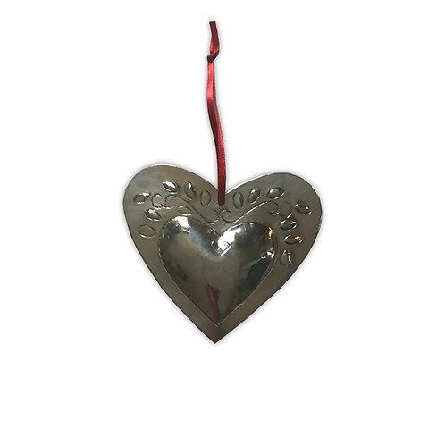 Coeur métal argenté feuillage