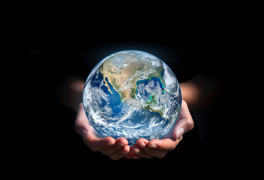 earth in hands. green planet on hand. sa