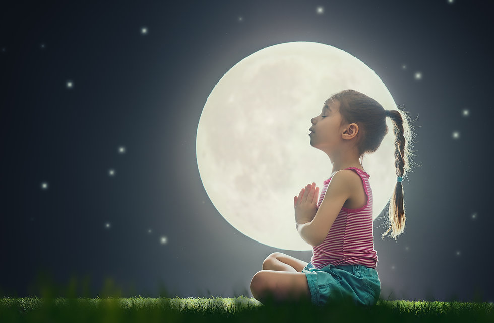 cute little child girl enjoying meditati