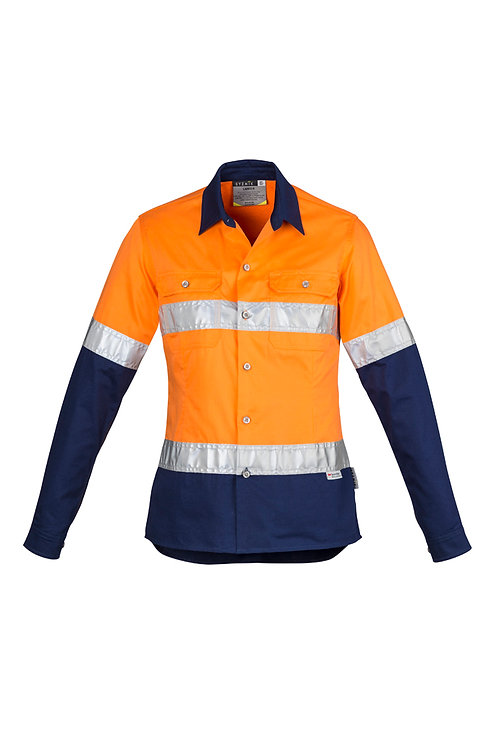 ZWL123 Womens Hi Vis Spliced Industrial L/S Shirt- Hoop Taped