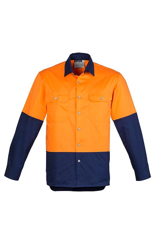 ZW122 Mens Hi Vis Spliced Industrial L/S Shirt