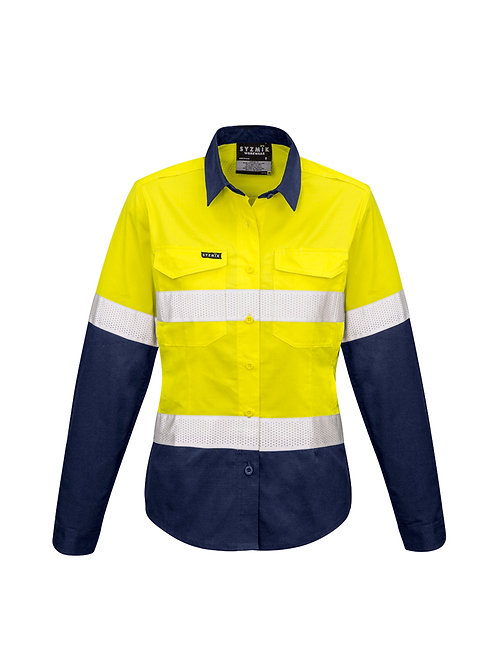 ZW720 Womens Rugged Cooling Taped Hi Vis Spliced L/S Shirt