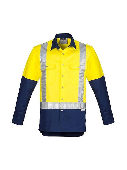 ZW124 Mens Hi Vis Spliced Industrial L/S Shirt- Shoulder Shaped