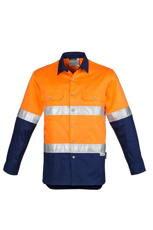 ZW123 Mens Hi Vis Spliced Industrial L/S Shirt- Hoop Taped