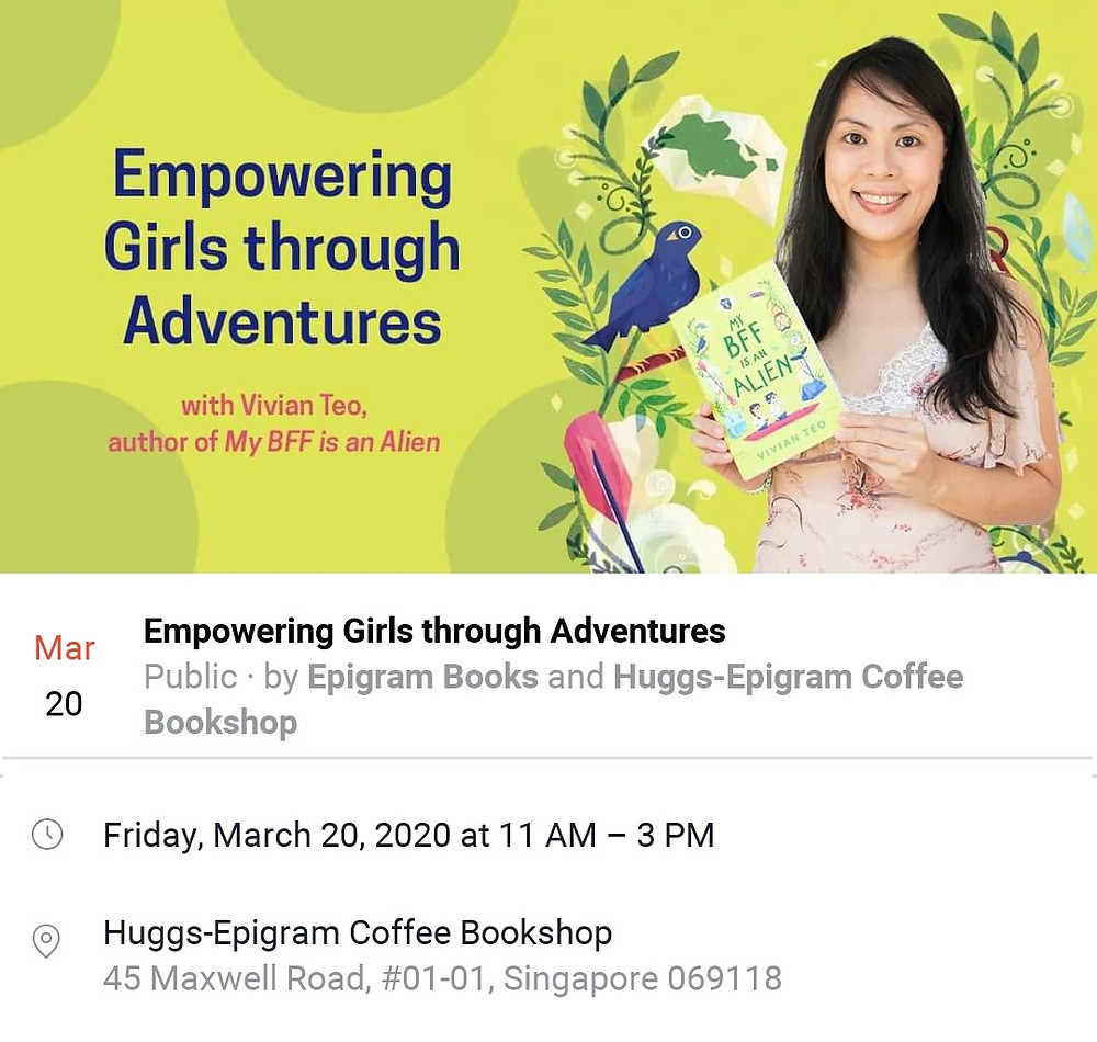 Huggs Epigram Coffee Bookshop Vivian Teo Singapore Singlit My BFF is an alien middle grade book children friendship