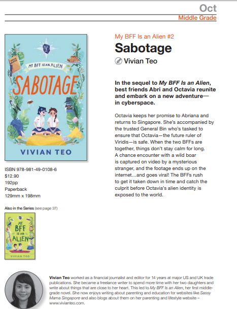Vivian Teo My BFF is an alien Sabotage Book 2 two middle grade Singapore fiction children kids