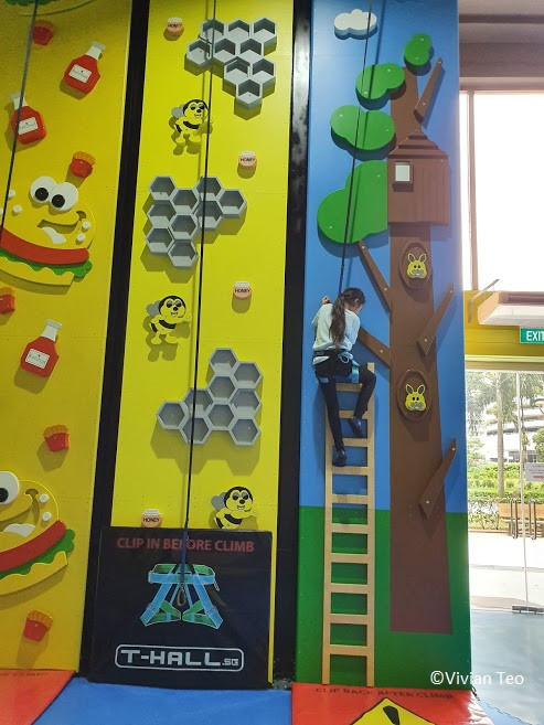 Wall climbing for kids at the fun zone at T-hall.sg in Singapore