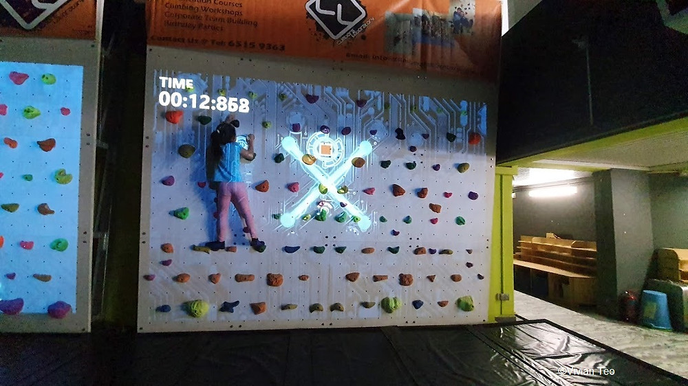 Augmented reality rock climbing wall climbers laboratory Singapore Woodleigh park