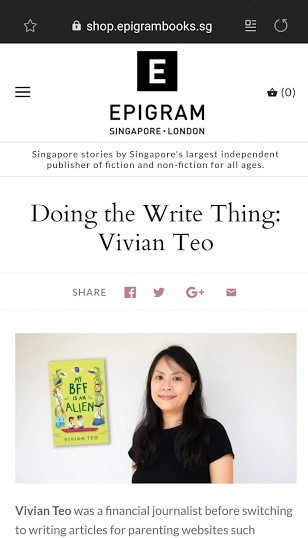 Vivian Teo Doing the Write Thing Epigram Books My BFF is an Alien Singapore middle grade