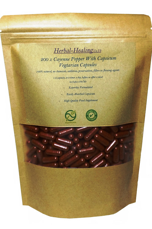 200 x 800mg Cayenne Pepper Capsicum Capsules, Vegetarian, Fast Release