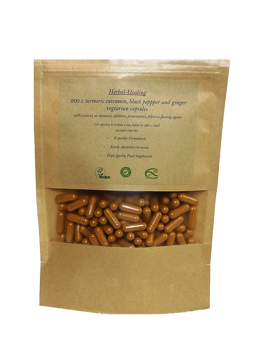 200 x Turmeric, Black Pepper And Ginger Capsules 800mg * Vegan,100% Organic