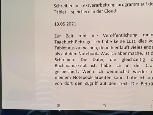 Schreiben im Textverarbeitungsprogramm auf dem Tablet – speichern in der Cloud