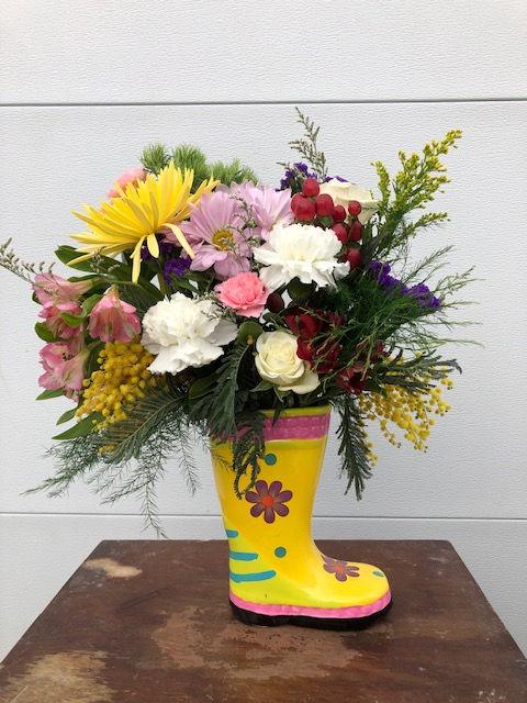 Spring Rain Boot Arrangement Class