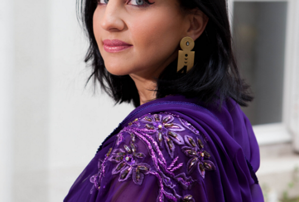 Kimono long violet brodé