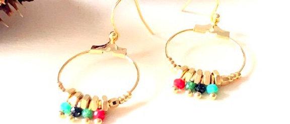 Boucles d'oreilles petites créoles écrous multi perles Oh la la !