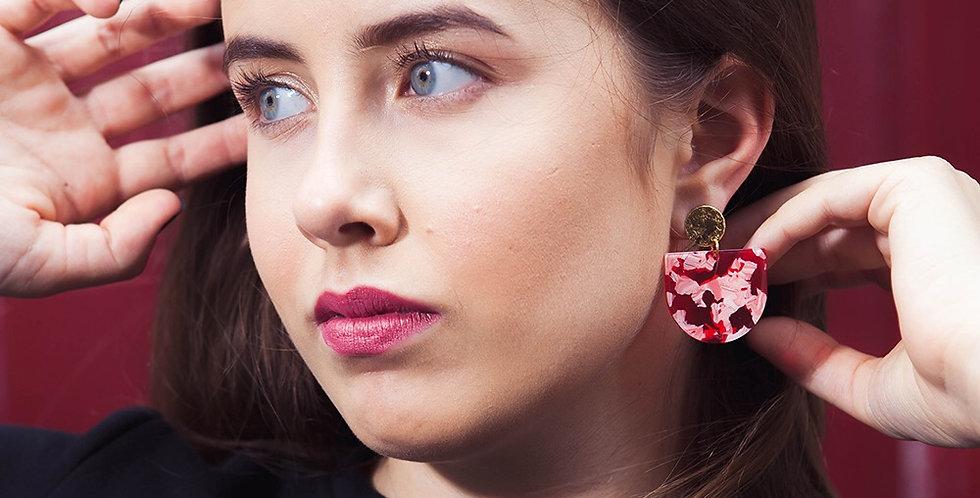 Boucles d'oreilles Or et Rouge