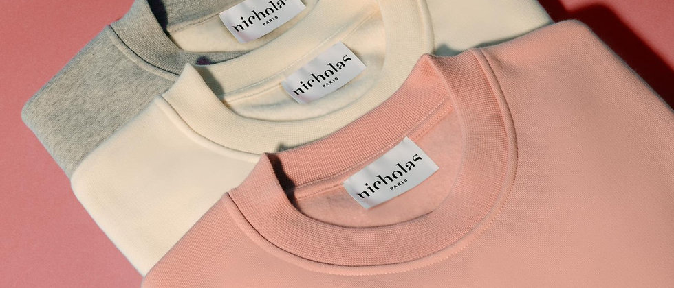 Sweat-shirt Écru ou Rose - NICHOLAS PARIS