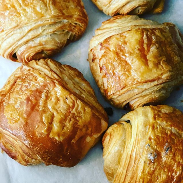 Our warm, flaky, buttery chocolate croissants are perfect with a hot coffee on this beauti