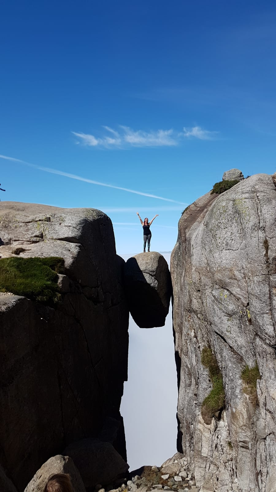Personal Training Client Fay, on top of the world on our Fitness Trip to Kjerag - Norway.