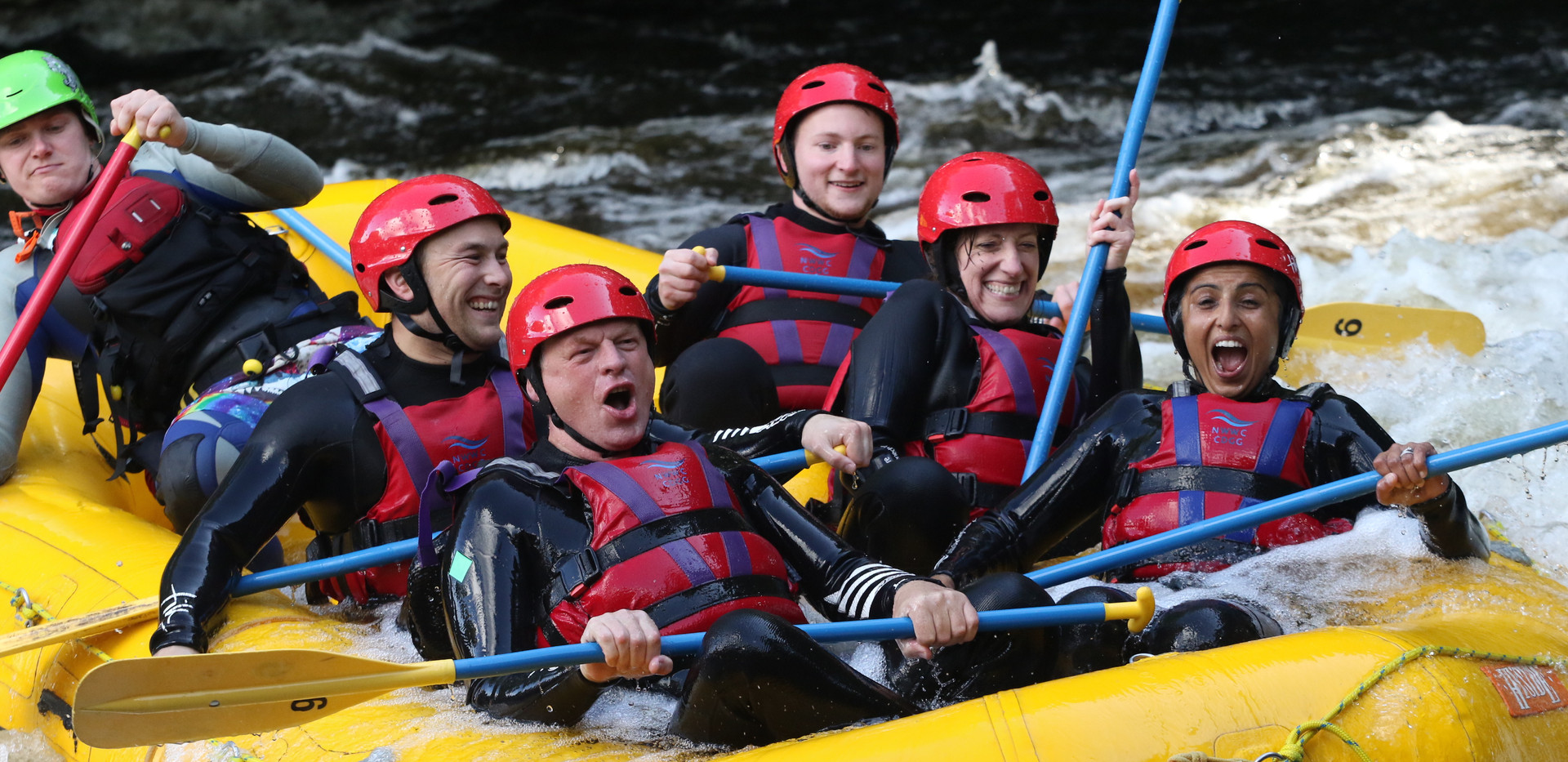 Clients having fun Whitewater Rafting in Wales, 2019 | Snowdonia | Fitness | Fun | Exercise | PT | Training | Friendly | Group | Sawbridgeworth | Harlow | Bishops Stortford | Essex | Hertfordshire