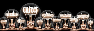 Large group of light bulbs with shining