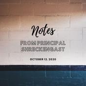 Notes from Principal – October 12, 2020