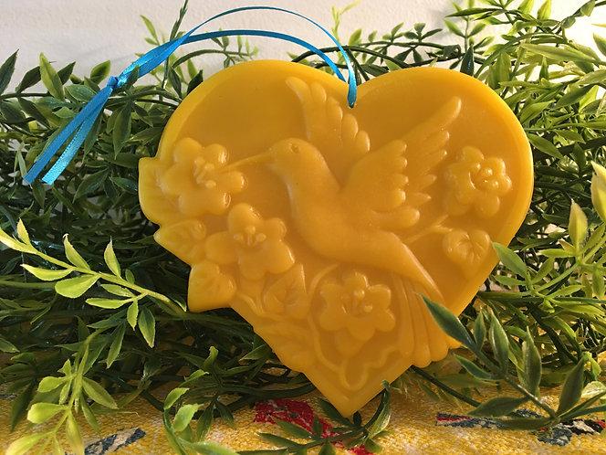 Hummingbird in Flowery Heart