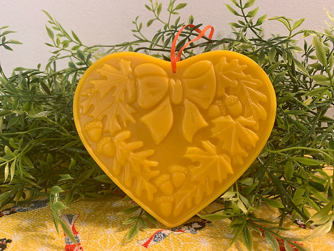 Fall Heart With Acorns, Leaves and Bow