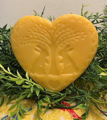 Two Bunnies Under Tree Heart Shaped Beeswax