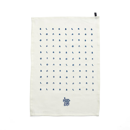 Prague symbols tea towel