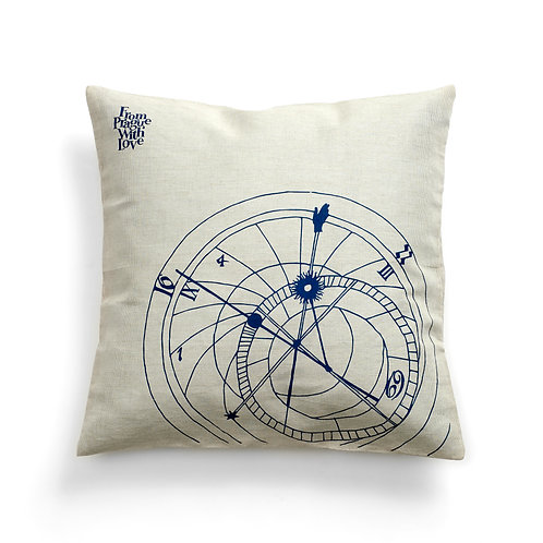Prague's astronomical clock cushion cover