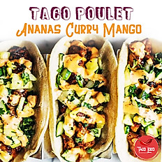 Tacos poulet ananas sauce mango curry