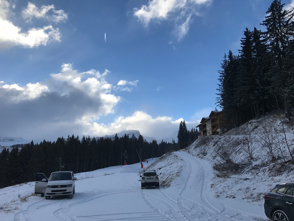 the osteopath and physio car on the slopes of courchevel