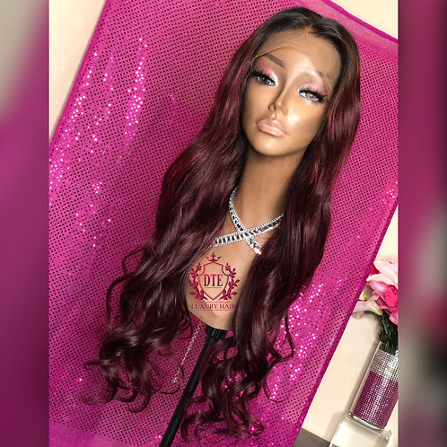 "Ready to install 24"" 1b/burgundy Lace front wig"