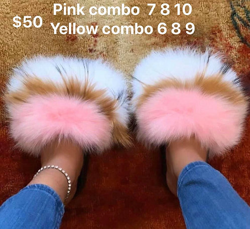 New color jumbo fur slides