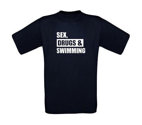 """Erwachsenen T-Shirt """"SEX,DRUGS,SWIMMING"""""""