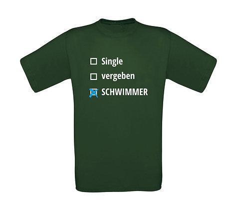 """Erwachsenen T-Shirt """"SINGLE,VERGEBEN,SCHWIMMER"""""""