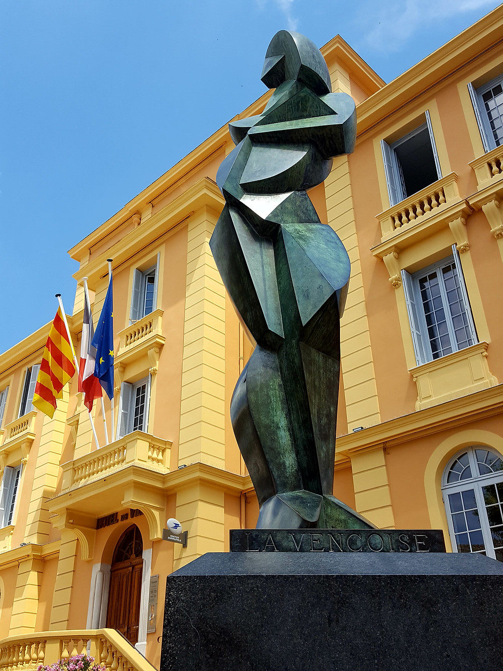 """This sculpture in front of city hall is titled """"La Vençoise."""" In English that means Badass Woman from Vence."""