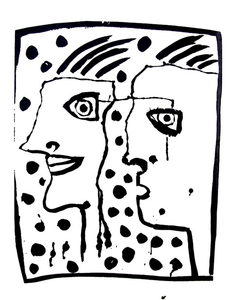 Jane Sampson 'Partners' T shirt/card design Pen and ink 21 x 30cm