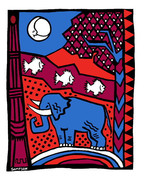 Jane Sampson 'Elephant' Card design Gouache 21 x 30
