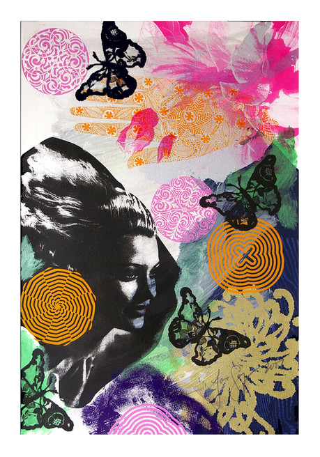 Jane Sampson 'Pink Rose' Screenprint with dye and gloss enamel 38 x 56cm Monoprint