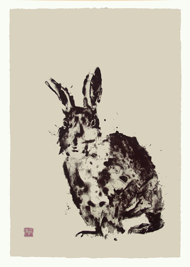 Jane Sampson 'Lucky Rabbit' Silkscreen Personal Project 38 x 56cm Edn 20