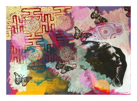 Jane Sampson 'Gold and Yellow' Screenprint 76 x 56cm Monoprint