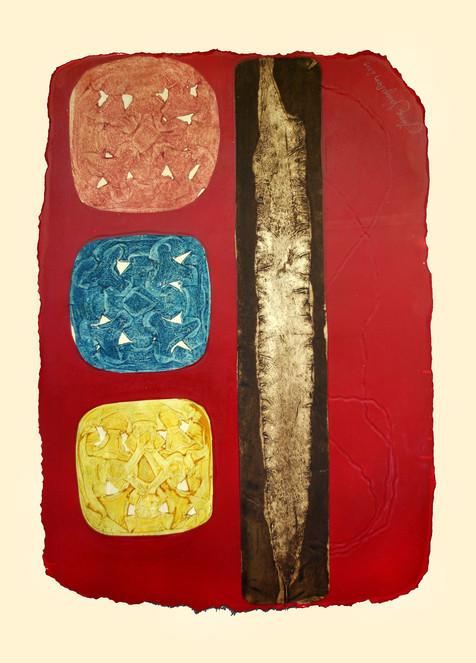 Jane Sampson 'Beach Finds 2' Collagraph and Silkscreen 76 x 1120cm test plate