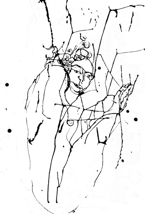 Jane Sampson Life Drawing Indian Ink on paper 50 x 60cm  LAURA DRAWINGS  Screenprints based on a series of life drawings made with an eyedropper and Indian ink. By adding layers, using different papers, colours and types of ink (fluorescent and metallic  the aim was to explore their potential without losing the spontaneity of the originals drawings.
