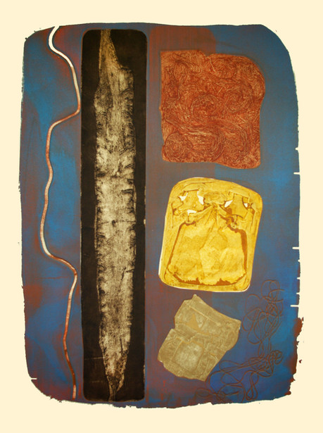Jane Sampson 'Beach Finds' 76 x 1120cm Collagraph and Silkscreen test plate