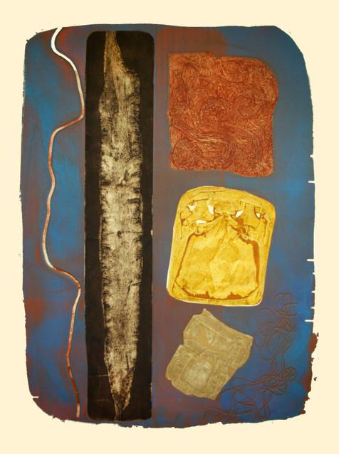 Jane Sampson 'Beach Finds' 76 x 1120cm Collagraph and Silkscreen test plate