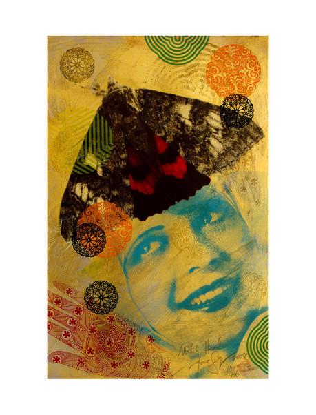 Jane Sampson 'Moth Head' Screenprint, gold pigment and gloss enamel 38 x 56cm Variable Edn. 10