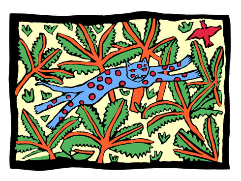 Jane Sampson 'Leaping Cat' T shirt/card design Gouache 30 x 21cm