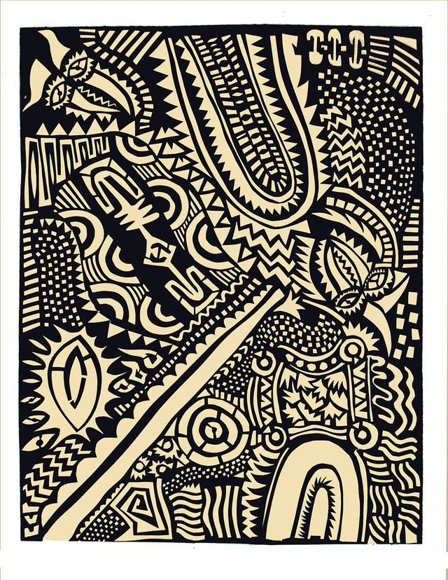 Jane Sampson 'Africa' Screenprint from cut paper designs 76 x 1120cm Edn 10
